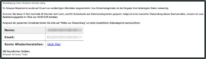 2019-07-05 Amazon Fake-Mail Nachricht von Ihrem Kundenservices