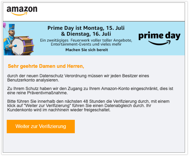 2019-07-08 Amazon Phishing-Mail Datenschutz - Ihr Konto wurde eingeschraenkt!