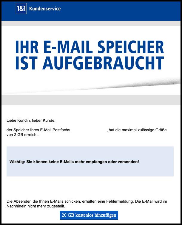 2019-07-09 1und1 Spam-Mail Webmailer Ihr E-Mail Speicher ist aufgebraucht