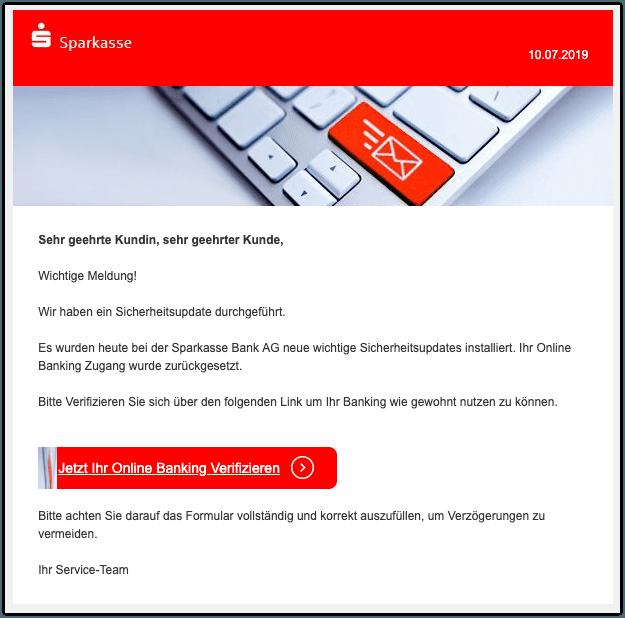2019-07-10 Sparkasse Spam-Mail Wichtige Meldung