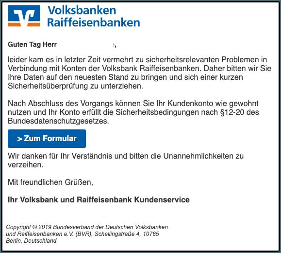 2019-07-10 Volksbank Phishing-Mail Dringliche Angelegenheit