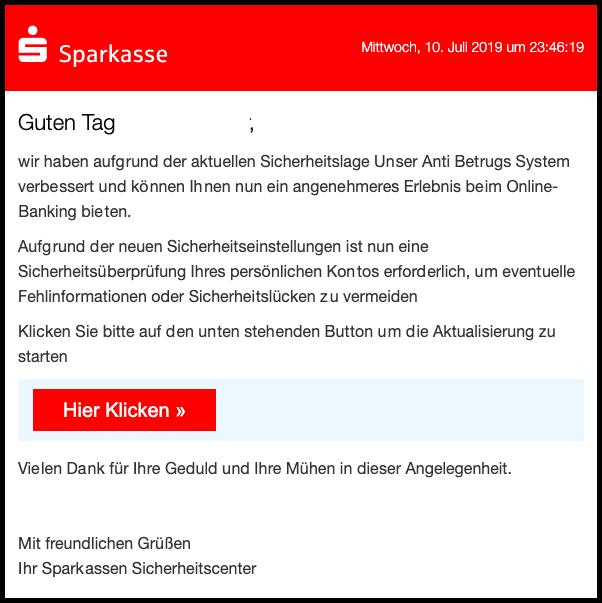 2019-07-11 Sparkasse Spam-Mail Ihr Online-Banking wurde eingeschraenkt