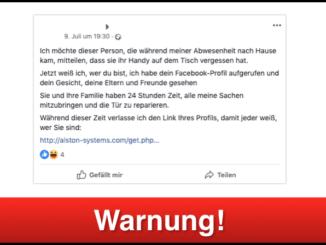 2019-07-12 Fake-Post Facebook Einbrecher Handy verloren