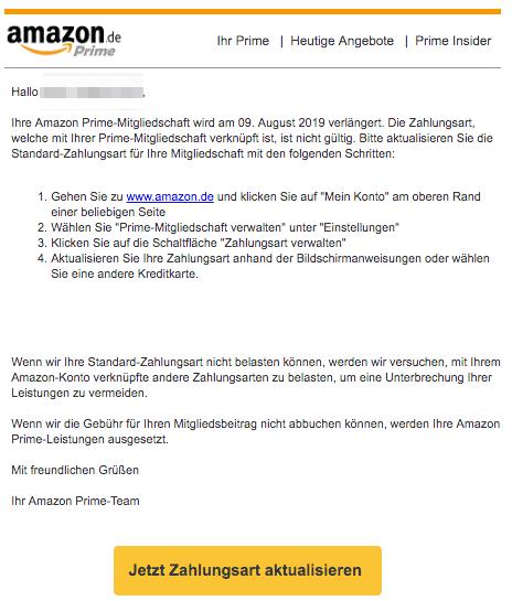 2019-07-15 Amazon E-Mail Ihre angegebene Zahlungsart ist ungueltig