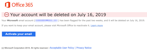 2019-07-15 Phishing Microsoft Your Microsoft Office email account will be deleted