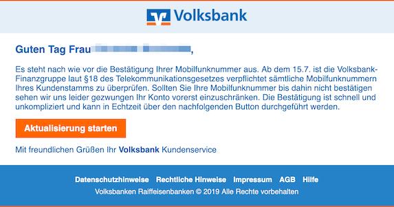 2019-07-15 Phishing Volksbank - Ihre Daten sind veraltet