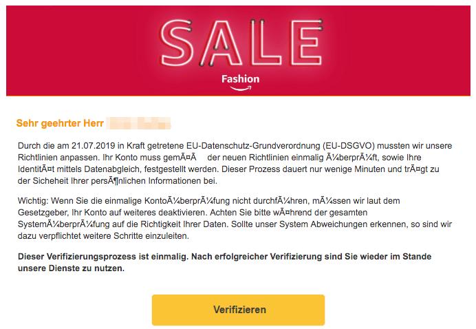2019-07-21 Amazon Spam-Mail Ihr Konto wurde eingeschraenkt