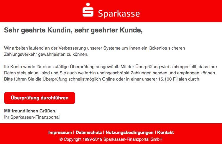 2019-07-21 Sparkasse Spam-Mail Zufaellige Ueberpruefung