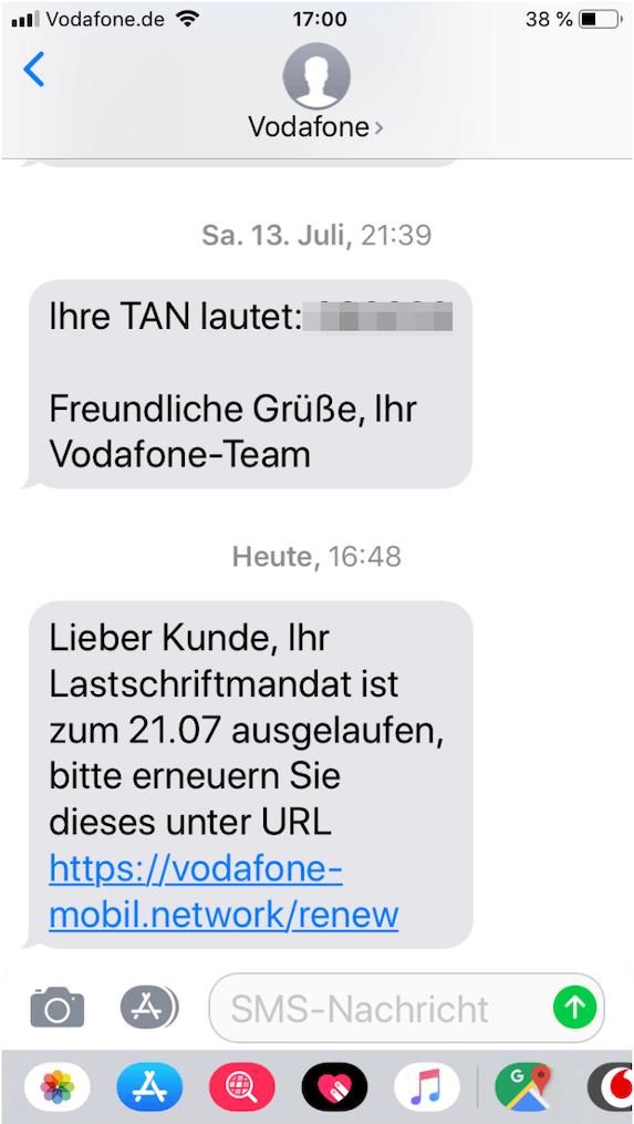 2019-07-22 Vodafone Phishing SMS
