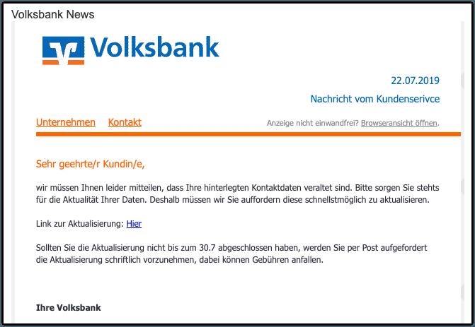 2019-07-23 Phishing Volksbank