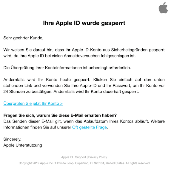 2019-07-25 Phishing Apple