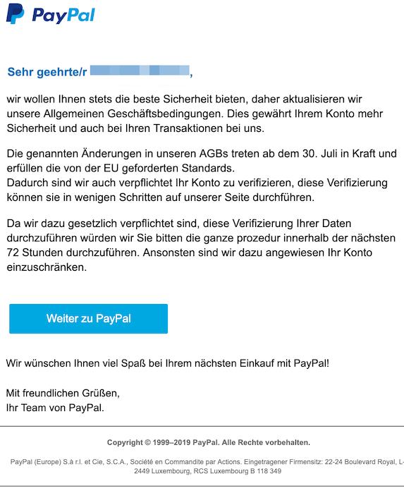 Paypal Verifizierung Fake