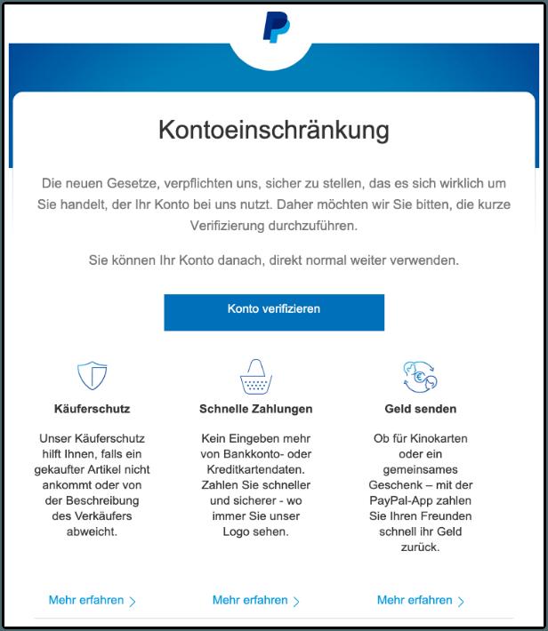 2019-07-30 PayPal Spam-Mail Ihr Konto wurde eingeschraenkt
