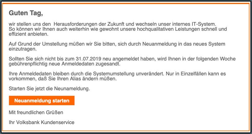 2019-07-30 Volksbank Phishing-Mail Aktiviere jetzt dein Volksbank konto