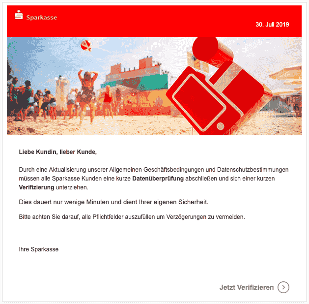 2019-07-31 Sparkasse Spam Mail Infos