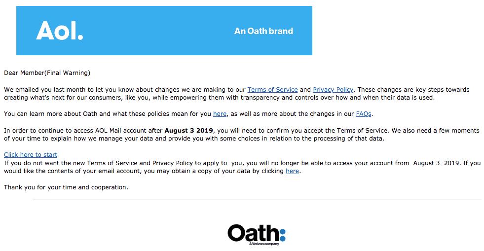 2019-08-03 AOL OATH Phishing-Mail AOL