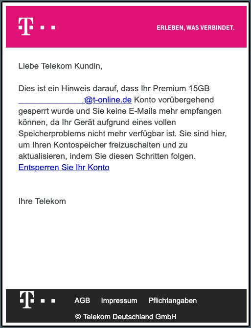 2019-08-09 Telekom Phishing-Mail Mailbox gesperrt
