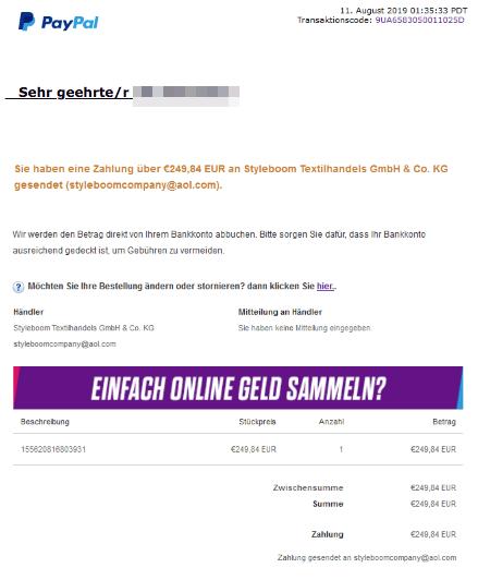 2019-08-11 PayPal Fake-Mail Bestätigung ZahlungStyleboom Textilhandels GmbH