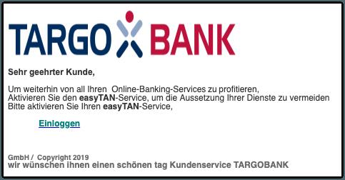 2019-08-15 Targobank Spam-Mail Wichtige Nachricht easyTAN