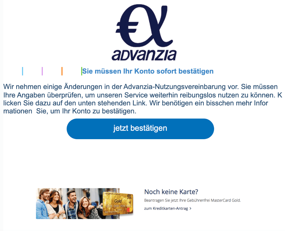 2019-09-14 Advanzia Spam-Mail Bestaetigen Sie ihr Konto