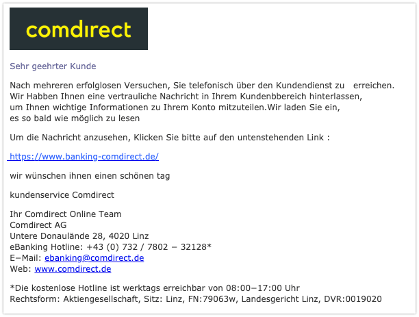 2019-09-26 Comdirekt Fake-Mail Login