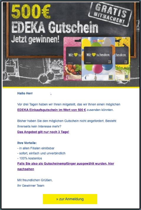 2019-10-14 Spam-Mail Edeka-Gutschein 500 Euro