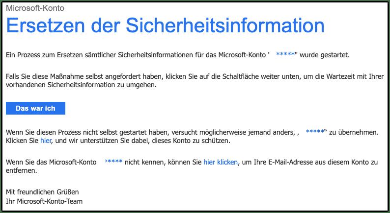 2019-10-29 Microsoft E-Mail Sicherheitsinformation des Microsoft-Kontos