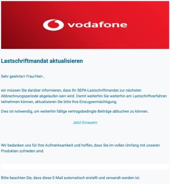2020-05-04 Vodafone Spam Fake-Mail Lastschriftmandat aktualisieren