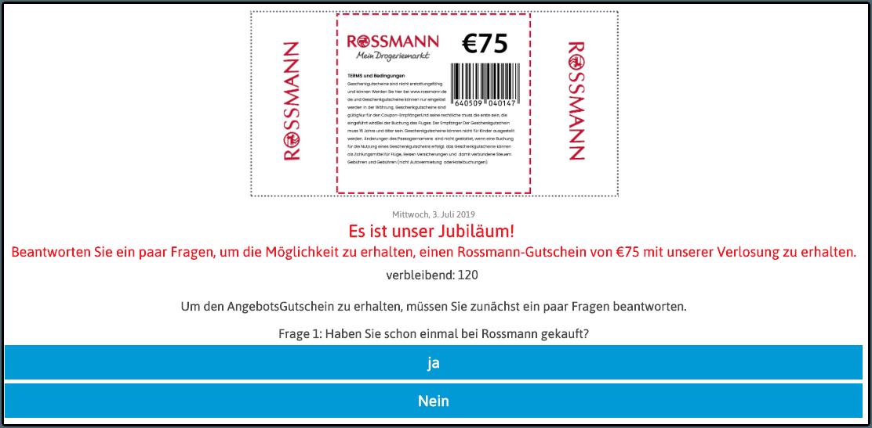 Facebook Rossmann Gutschein 75 Euro 1