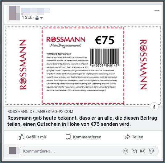 Facebook Rossmann Gutschein 75 Euro 4