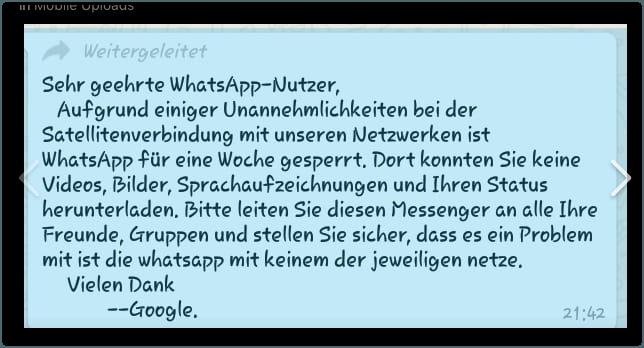 Kettenbrief Ausfall WhatsApp Facebok1