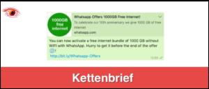 WhatsApp Kettenbrief 1000 GB Datenvolumen
