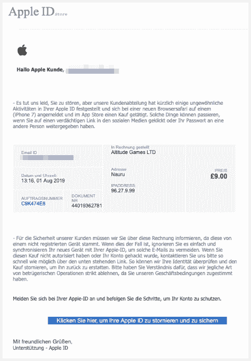 2019-08-01 Apple Spam-Mail E-Mail-Adresse