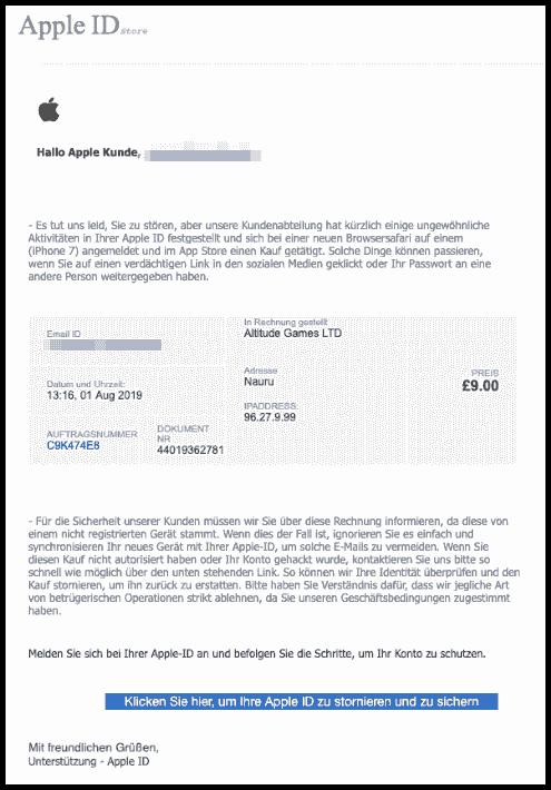 apple phishing aktuell diese spam mails stehlen ihre. Black Bedroom Furniture Sets. Home Design Ideas