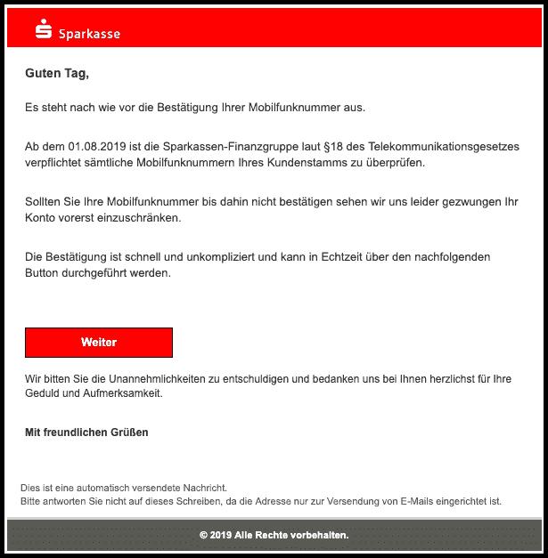 2019-08-01 Sparkasse Spam-Mail Prüfung erforderlich