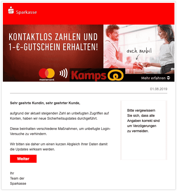 2019-08-02 Sparkasse Spam-Mail Online News