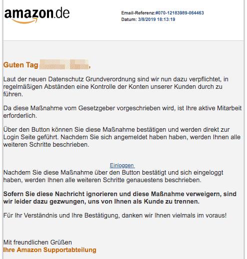 2019-08-04 Amazon Spam-Mail Neue Kundenmitteilung