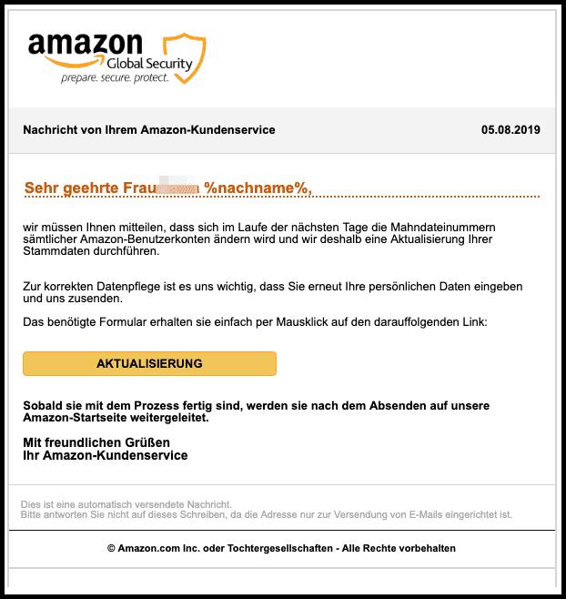 2019-08-05 Amazon Spam-Mail Ihr Konto wurde eingeschraenkt