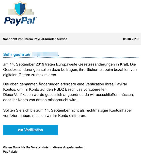 2019-08-05 Phishing PayPal Sicherheitswarnung