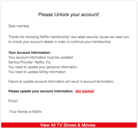 2019-08-07 Netflix Spam-Mail Unlock Account