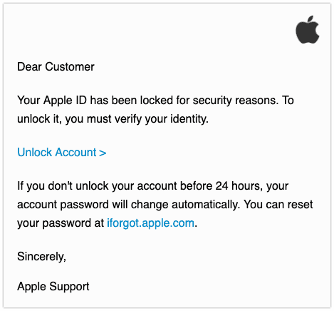 2019-08-08 Apple Phishing E-Mail Apple ID Locked
