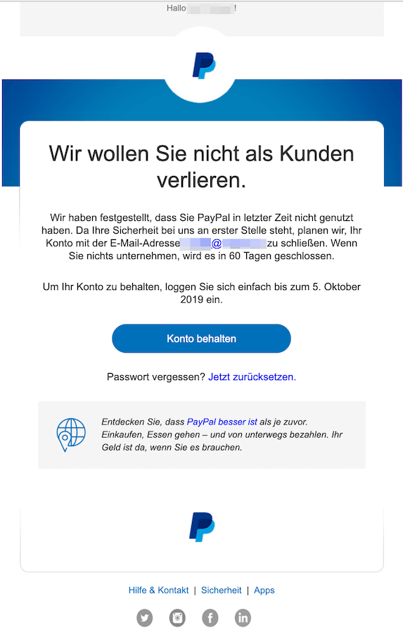 Paypal Konto Geschlossen