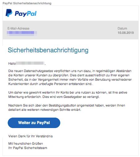 2019-08-11 PayPal Spam-Mail Sicherheitsnachricht