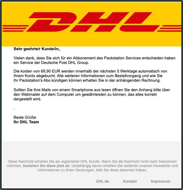 2019-08-12 DHL-Mail Spam Ihre offene Rechnung