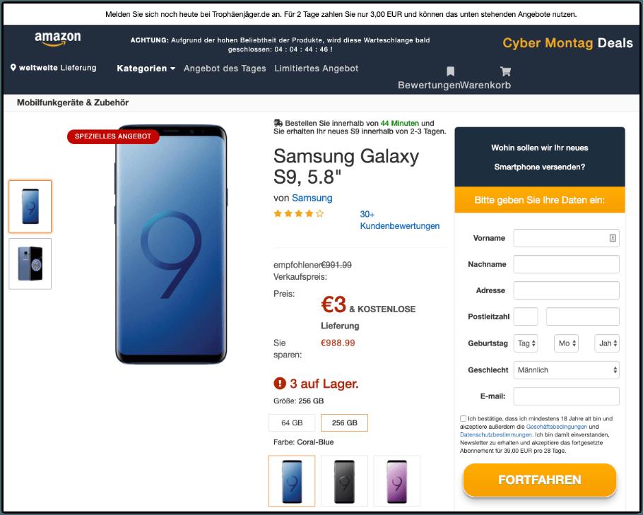 2019-08-12 Fake-Seite im Amazon Design