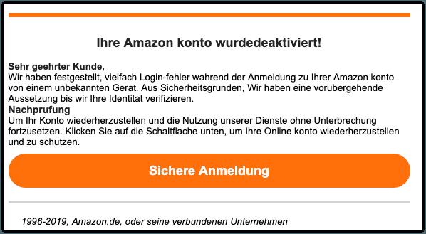 2019-08-14 Amazon Phishing-Mail Stellen Sie Ihr Konto wieder her