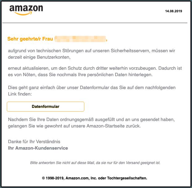 2019-08-14 Amazon Spam-Mail Ihr Konto wurde eingeschränkt
