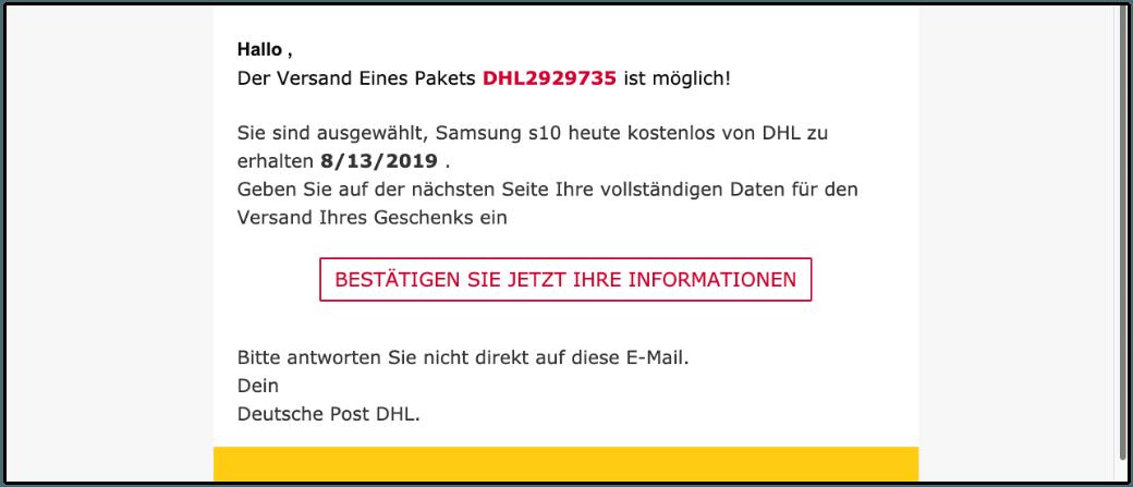 2019-08-14 E-Mail im Namen von DHL Datensammler Falle