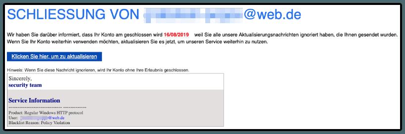 2019-08-14 Fake-Mail zur Schliessung E-Mail-Adresse