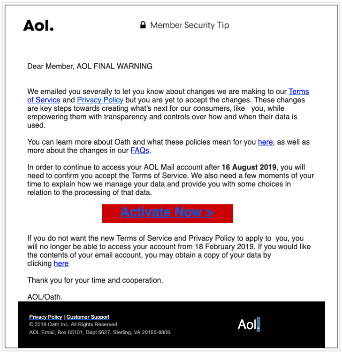 2019-08-16 AOL Fake-Mail Changes Terms of Service